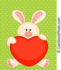 cartoon little toy bunny with heart