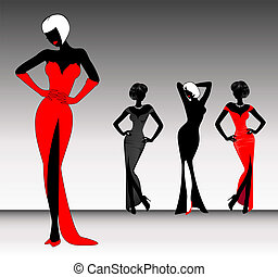 silhouettes of young beautiful girl