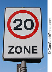 Twenty m.p.h. Speed Limit Sign