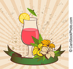 tropical flowers and cocktail - grunge background with...