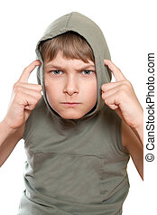 Portrait of a teenager isolated on a white background.