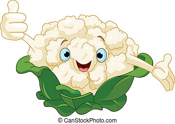Cauliflower Presenting Something - Cartoon cute Cauliflower...