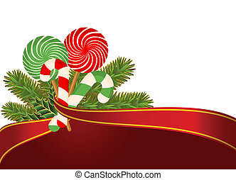 Christmas candy cane decorated.