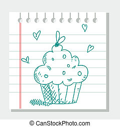 Hand drawn cupcake,  illustration