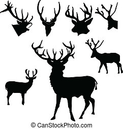 deer silhouette with shadow vector illustration isolated on...