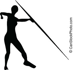 javelin throw vector silhouette illustration isolated on...