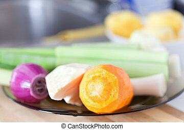 Vegetables on a plate - Closeup of vegetables on a plate in...