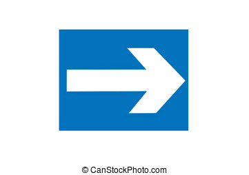 Right Arrow - Photo of a right arrow isolated on blue...