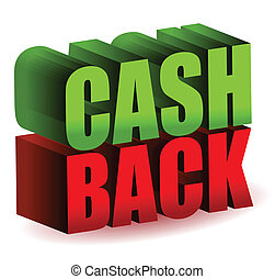 cash back 3d text illustration design isolated over a white...