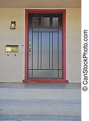 Black door burgundy trim - Black door with brass fitting...