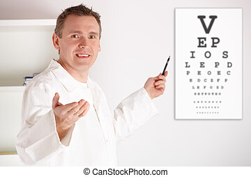 Oculist doctor examining patient - Male oculist doctor...