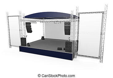 Stage - Outdoor stage with large vertical banners