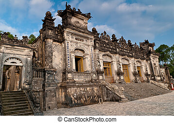 Facade of the Thien Dinh palace in Khai Dinh Tomb, Hue,...