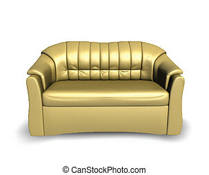 Golden vector sofa - Golden sofa on white background Vector...
