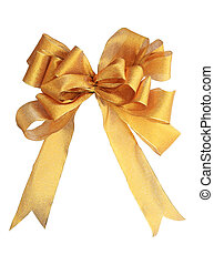 isolated gold bow - gold decorative fabric bow isolated on...