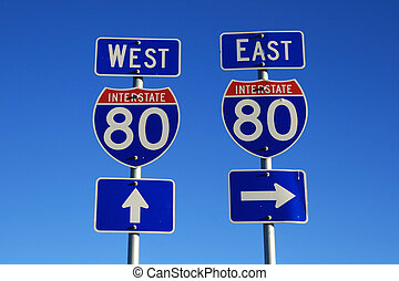interstate 80 road signs - road signs for interstate 80 east...