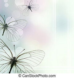 Beautiful Background With Three Butterflies and bokeh 1 of...