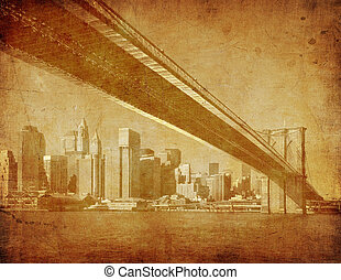grunge image of brooklyn bridge, new york, usa