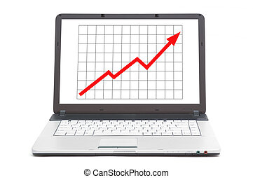upwards going graph on the screen of notebook