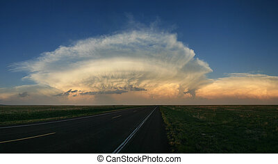 storm cell clouds - storm cell anvil head clouds above the...