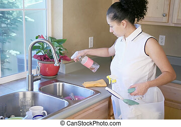 Woman Cleaning the kitchen - Woman cleaning the sink in a...