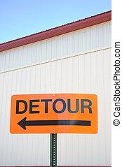 Orange Detour Sign