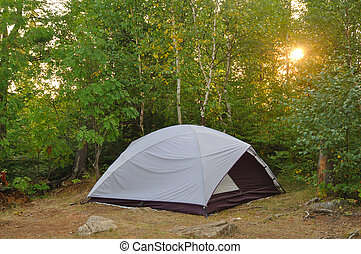 Tent at Campsite in the Wilderness at Sunrise