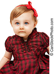 Beautiful funny little girl with blue eyes - Beautiful...