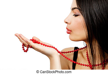 Sensual woman and red pearl necklace