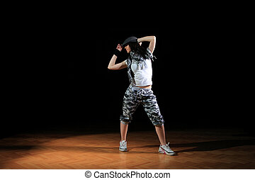 hip hop girl in dance - attractive hip hop girl in dance