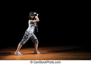 hip hop girl in dance  - attractive hip hop girl in dance