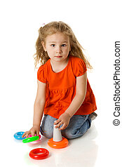 four years girl - Funny four years girl sitting on floor...