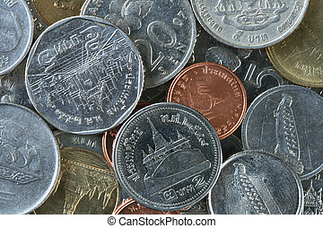 Thailand and Malaysian coins - background close up of coins...