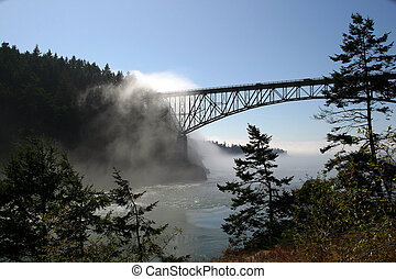 Deception Pass Bridge with morning fog coming from river