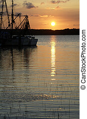 Shrimp Boats at Sunset Portrait - Shrimp boats silhouetted...
