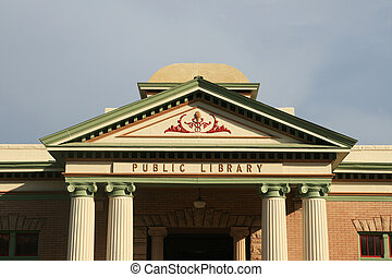 old public library frontwith classical architecture