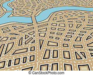 Angled city - Editable vector illustration of an angled...