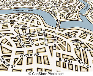 Angled generic streets - Editable vector street map of an...