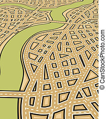 Angled streets - Angled editable vector illustration of a...
