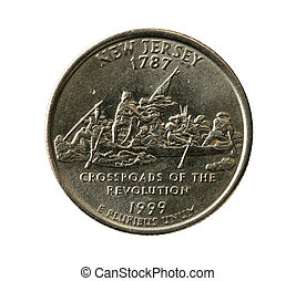 isolated New Jersey quarter - New Jersey state quarter coin...