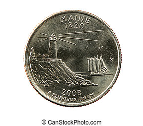 isolated Maine quarter - Maine quarter coin isolated on...