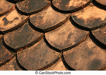 tile roof - scale shaped ceramic tile roof background detail
