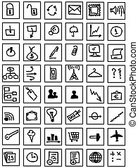 simple hand draw web business icons