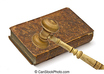 Old book and gavel