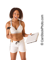 Woman fighting for weight loss - Ethnic woman in sporty...