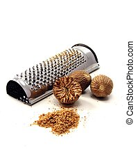 Nutmeg with grater - Selection of nutmeg with grater on...