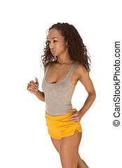 Ethnic woman work out fitness jogging - Young biracial dark...