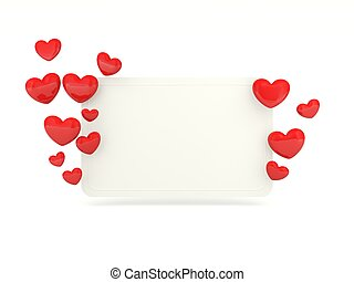 Empty card with red hearts isolated on white