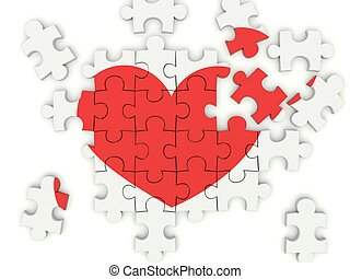 Puzzle with heart isolated on white