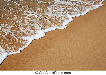 Sandy beach and water wave background